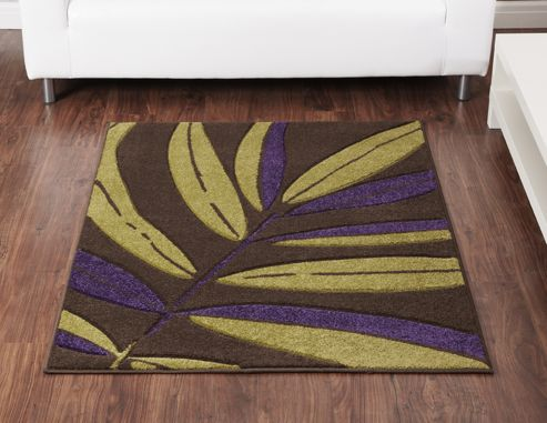 Ultimate Rug Co Rapello Tropical Chocolate / Green / Aubergine Contemporary Rug - 75cm x 150cm