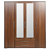 Newport 4 Door 2 Drawer Wardrobe With Mirror Walnut