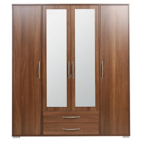 Newport 4 Door 2 Drawer Wardrobe With Mirror Walnut