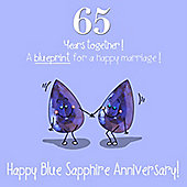 65th Wedding Anniversary Greetings Card - Blue Sapphire Anniversary
