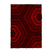 Think Rugs Noble House Red Shaggy Rug - 120 cm x 170 cm (3 ft 9 in x 5 ft 7 in)