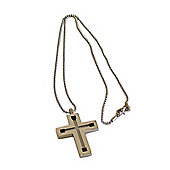 Mens JW Man Steel and Onyx Cross Pendant Necklace