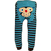 Dotty Fish Knitted Baby Leggings - Blue and Brown Stripes with Owl
