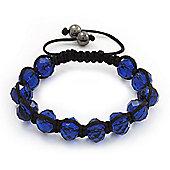 Unisex Montana Blue Glass Beads Shamballa Bracelet - 10mm - Adjustable