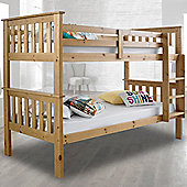 Happy Beds Atlantis Pine Finished Solid Pine Wooden Bunk Bed 3ft Single 2x Luxury Spring Mattress