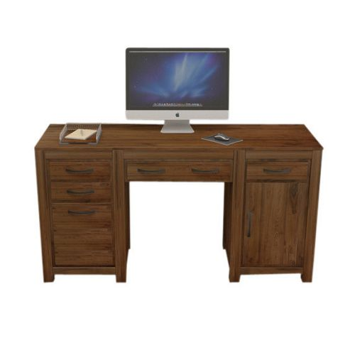 Buy baumhaus mayan walnut twin pedestal computer desk from our office desks tables range tesco - Tesco office desk ...