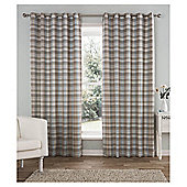 "Galloway Check Lined Eyelet Curtains W117xL137cm (46x54"") - - Duck egg"