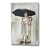 Children Under An Umbrella Hand Painted Canvas