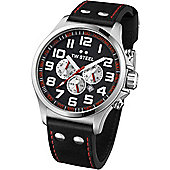 TW Steel Pilot Mens Leather Chronograph Date Tachymeter Watch TW415