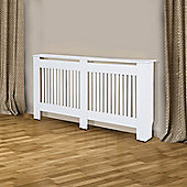 Homcom Radiator Cover Painted Slatted Cabinet MDF Lined Grill White 172L x 19W x 81H (cm)
