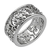 IT Diamonds Rhodium CHANTILLY Diamond Openwork Floral Butterfly Ring - Size P/Q