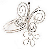 Rhodium Plated 'Butterfly & Flower' Upper Arm Bracelet Armlet