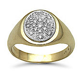 Jewelco London 9 Carat Yellow Gold 28pts Gents Oval Shape Diamond Ring
