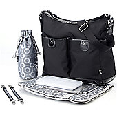 OiOi Hobo Nappy Change Bag - Black Ballistic Nylon Patent 2-Pkt Hobo - Gun Metal Hardware (6654)