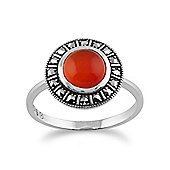 Gemondo 925 Sterling Silver Art Deco Orange Carnelian & Marcasite Ring