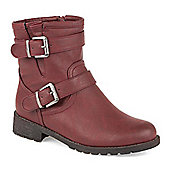 Pavers Ankle Boot with Buckles - Burgundy