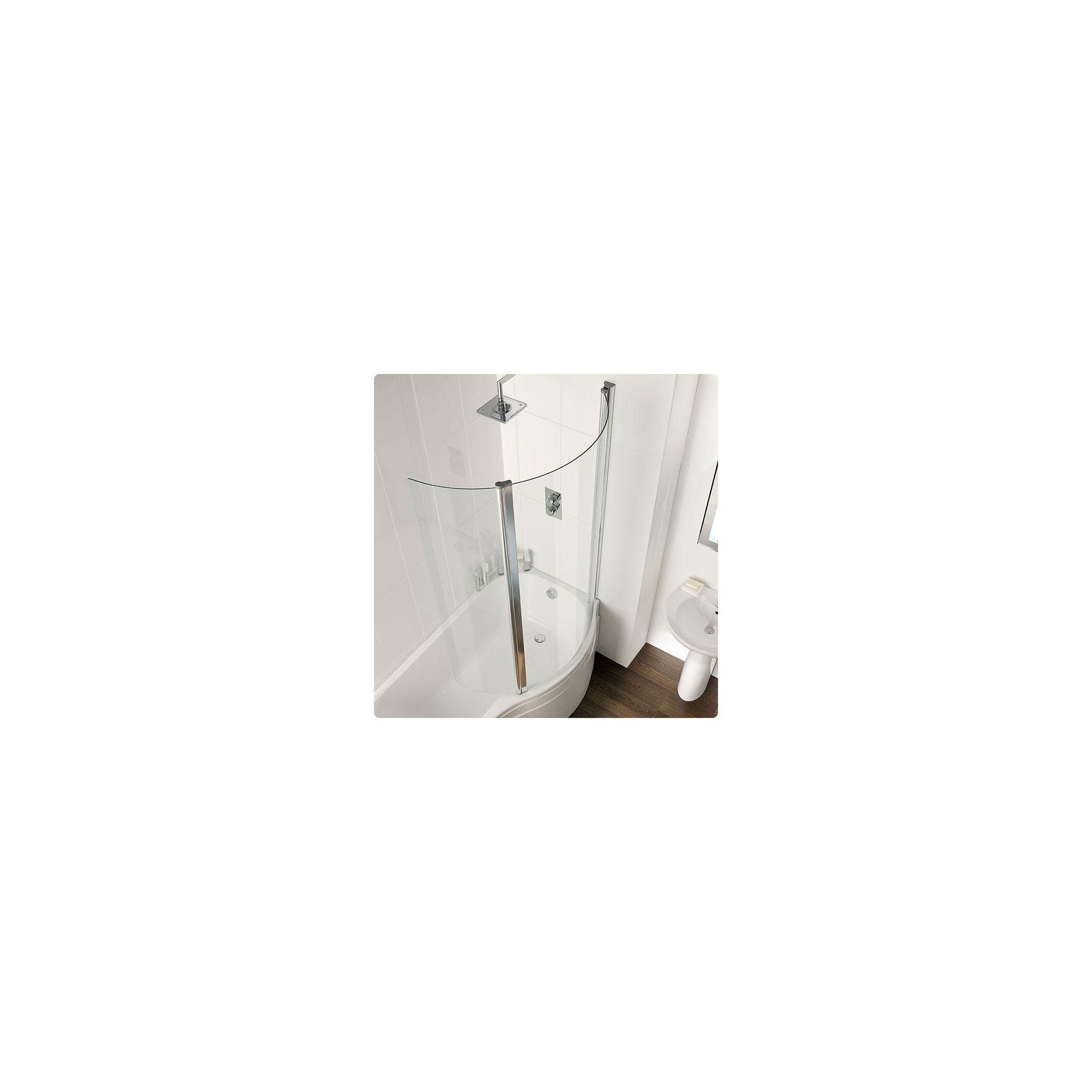 Duchy AUTUMN Curved Showerbath Bath Panel with Hinged Curved Enclosing Panel RIGHT HANDED with Silver Profile (900mm Wide x 1580mm High) at Tesco Direct