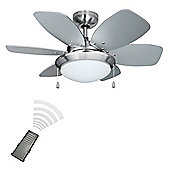 Minisun Spitfire Remote Control 30 inch Ceiling Fan with Light - Brushed Chrome