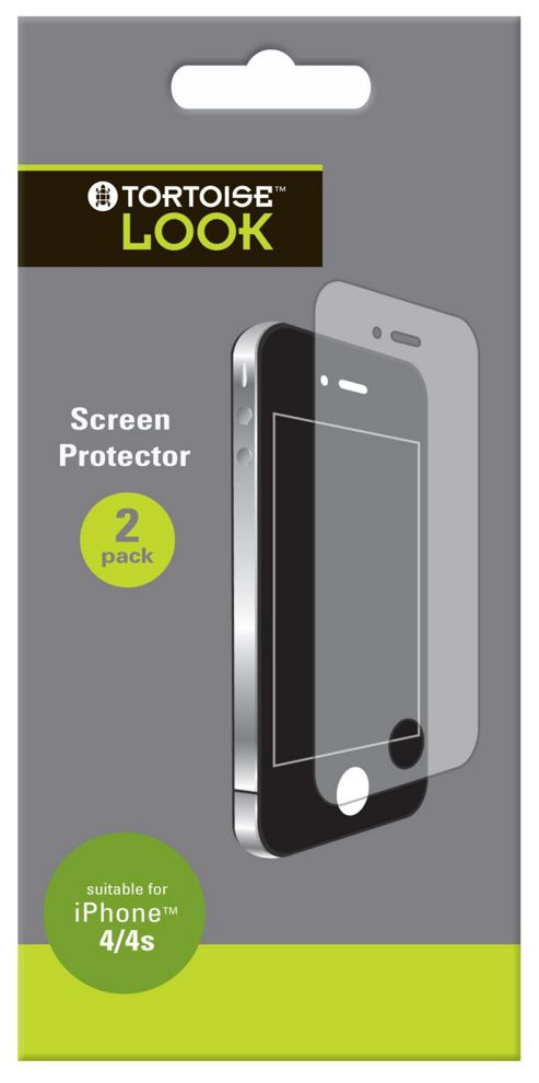 Tortoise™ Look Screen Protector iPhone 4/4S Twin Pack Clear
