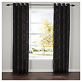 Flock Damask Lined Eyelet Curtains - Black