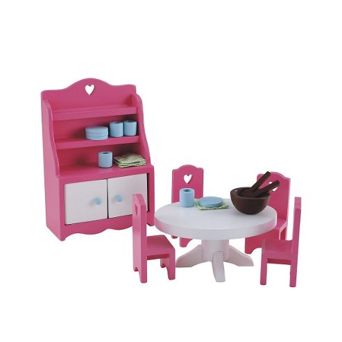 Rosebud Village Wooden House Dining Room Set