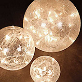 Set of 3 Clear Glass Orbs with Warm White Static LEDs