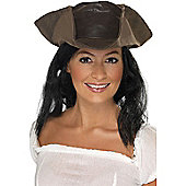 Brown Pirate Hat With Hair