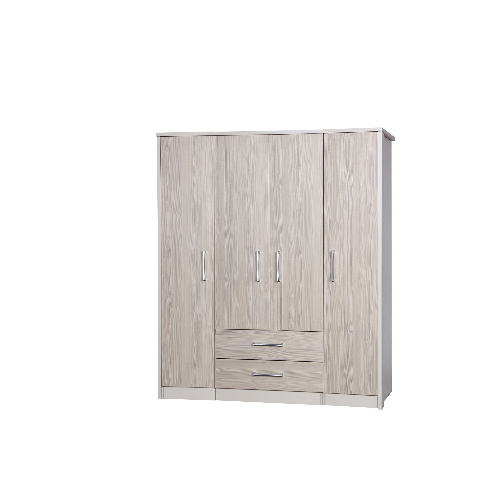 Alto Furniture Avola 4 Door Combi and Singles Wardrobe - Cream Carcass With Champagne Avola at Tescos Direct