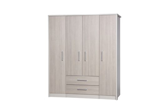 Alto Furniture Avola 4 Door Combi and Singles Wardrobe - Cream Carcass With Champagne Avola