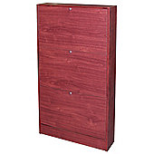Slim - Slimline Wall Mounted 3 Drawer Shoe Storage Unit - Mahogany