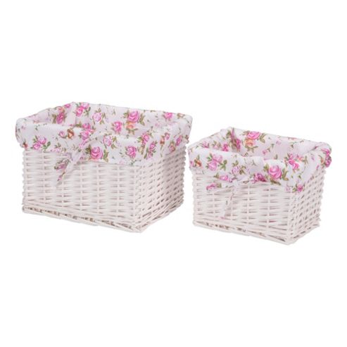 Tesco White Wicker Lined Baskets 2Pk