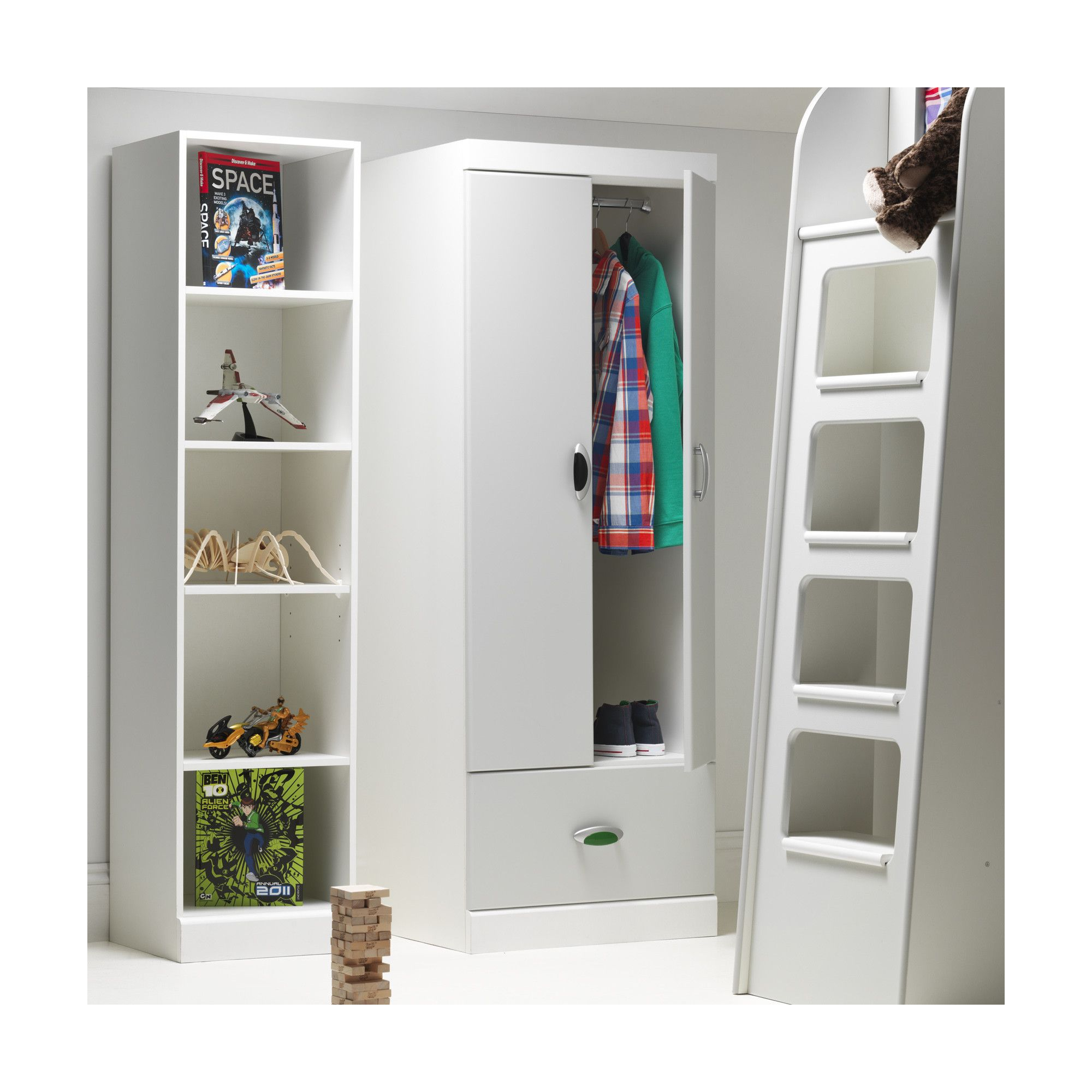 Caxton MyPod 2 Door / 1 Drawer Combi Wardrobe in White and Grey at Tesco Direct