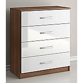 Birlea Lynx 4 Drawers Chest - Walnut and White