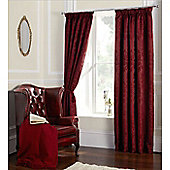 Damask Jacquard Red Curtains - 66X72 Inches