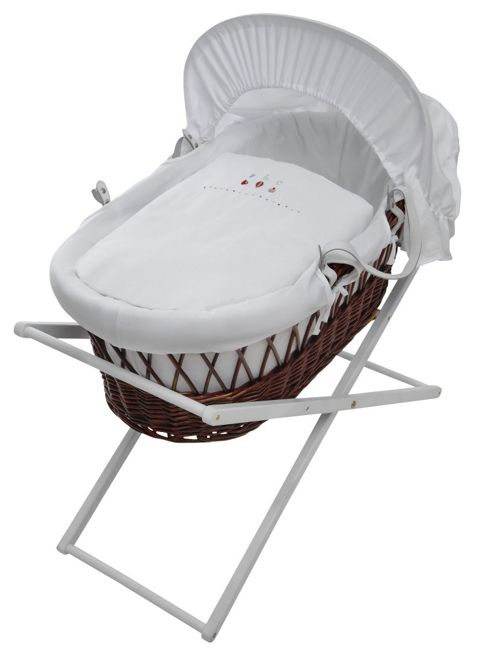 Wicker Moses Basket Stand in White
