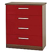 Welcome Furniture Knightsbridge 4 Drawer Chest - Oak - Ruby