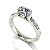 18ct White Gold 6.5mm Octagon Moissanite Solitaire and Moissanite Set Shoulders