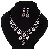 Bridal Purple/Clear Diamante 'Teardrop' Necklace & Earrings Set In Silver Plating