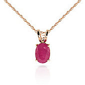QP Jewellers 22in 1.15mm Oval Necklace with 1.0ct Ruby Pendant in 14K Rose Gold