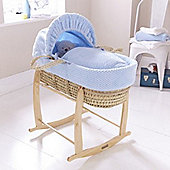 Clair de Lune Honeycomb Palm Moses Basket - Blue