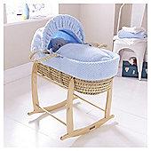 Clair de Lune Honeycomb Palm Moses Basket - Blue