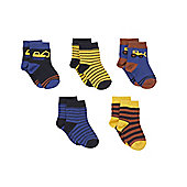 Mothercare Digger and Stripe Baby Socks- 5 Pack
