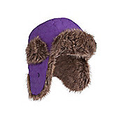 Kid's Furry Trapper Aviator Earflaps Warm Skiing Snowboarding Winter Hat - Purple