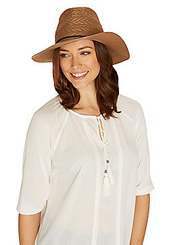 F&F Plait Trim Foldable Fedora - Tan