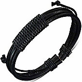 Urban Male Genuine Black Leather Triple Strand Surfer Style Bracelet