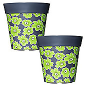 2 x 22cm Grey & Green Floral Plastic Garden Planter 5L Flowerpot by Hum