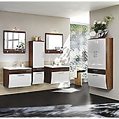 Posseik Salona 30 x 70cm Double Bathroom Storage Cabinet - White - Walnut Effect