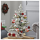 Dobbies Pre-Lit Bo Frosted Sapling Christmas Tree, 2ft