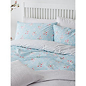 Linea Vintage Floral Super King Duvet Set In Blue