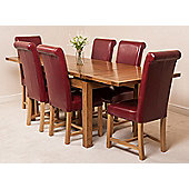 Farmhouse Rustic Solid Oak 160 cm Butterfly Extending Dining Table with 6 Washington Chairs (Burgundy)